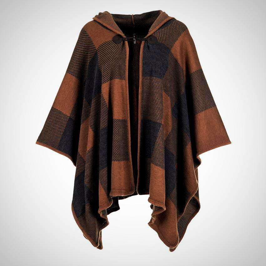 Hooded Buffalo Check Cape with Toggle Clasp
