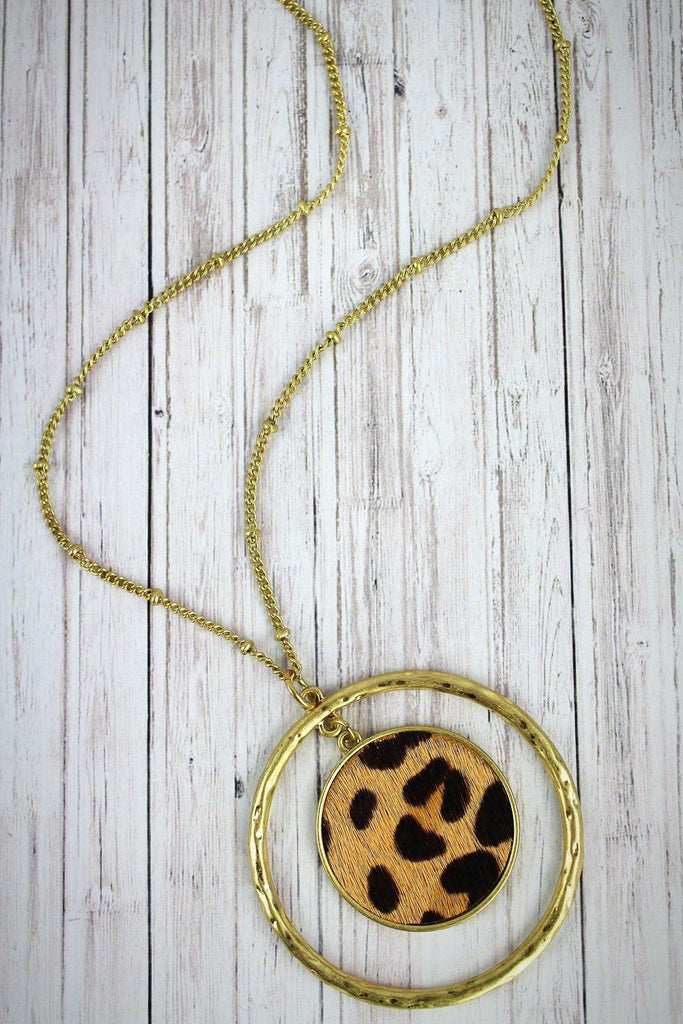 Goldtone Circle and Leopard Disk Pendant Necklace