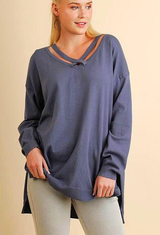 High Low Sweater Top with Crisscross Neckline (Plus)