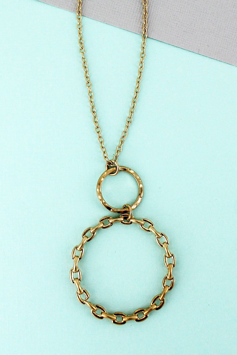 Hammered & Chain Goldtone Link Double circle Pendant Necklace