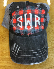 Buffalo Plaid Distressed Monogram Cap