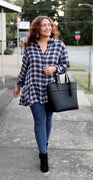 Ruffle Hem Crinkle Plaid Shirt