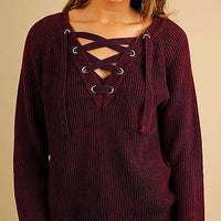 Velvet Hooded Tunic with Lace Up Neckline