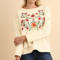 Floral Embroidered Crew Neck Top