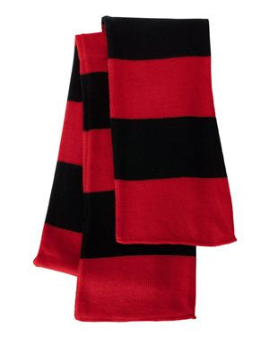 Red & Black Rugby Striped Knit Scarf