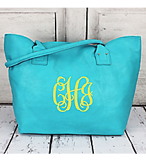 Aqua Faux Leather Tote