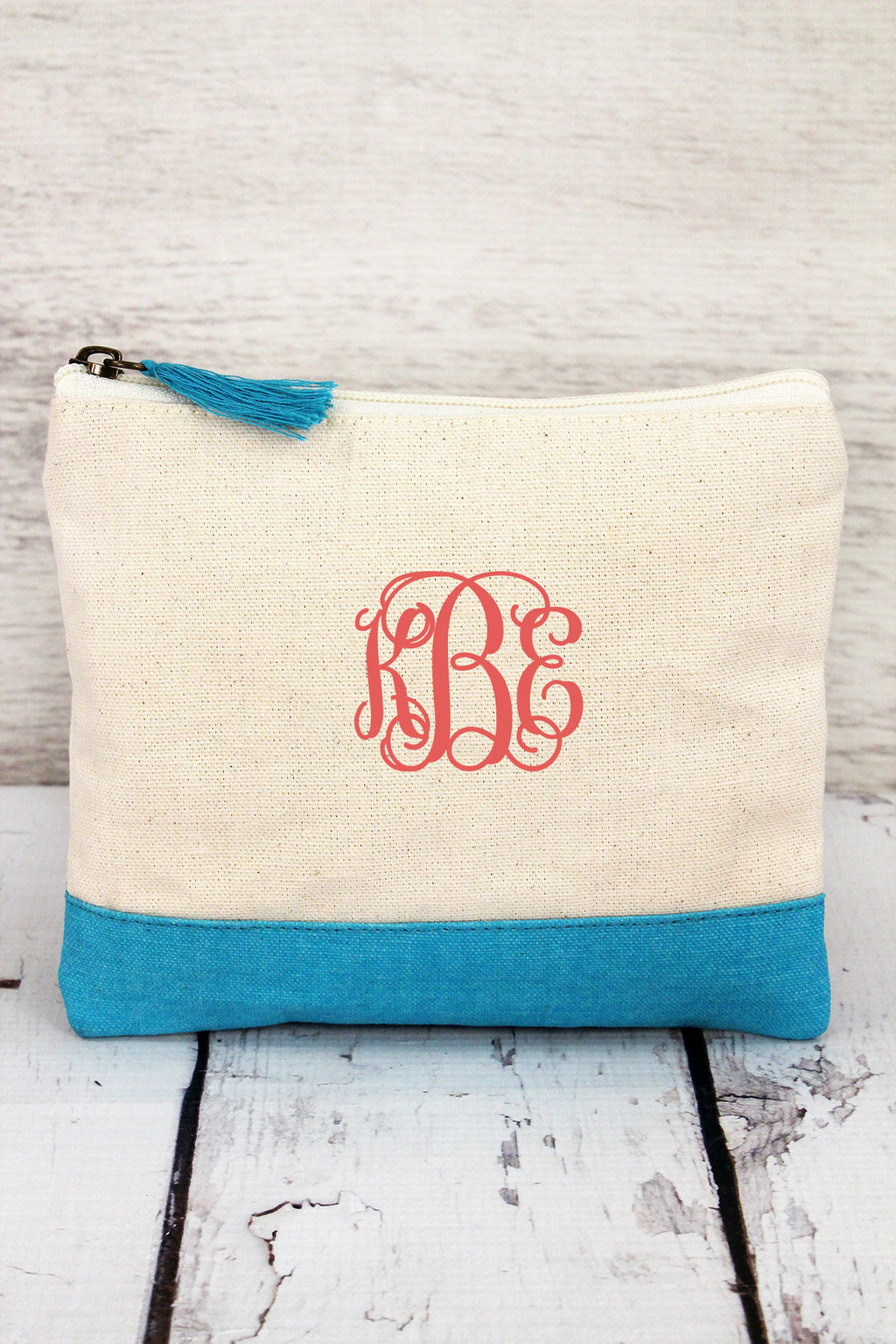 Natural & Turquoise Cosmetic Bag with Tassel