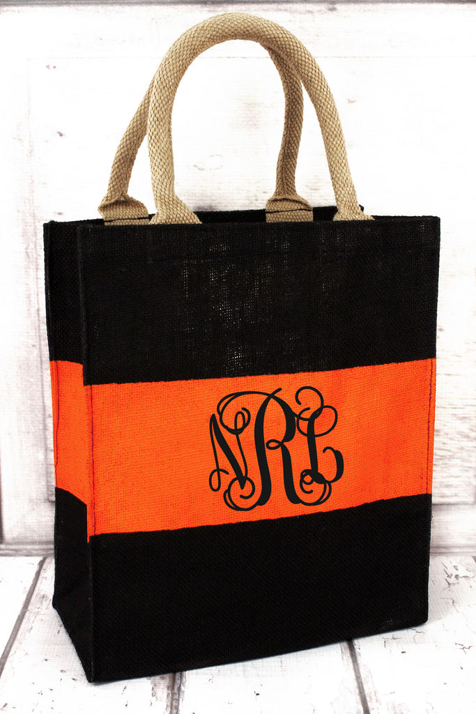 Black & Orange Stripe Jute Tote