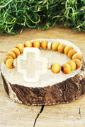 Square Cross Wood Beaded Stretch Bracelet