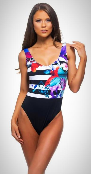 One Piece Stripe & Floral with Low Scoop Back