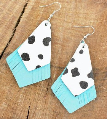 Turquoise and Cow Drop Earrings