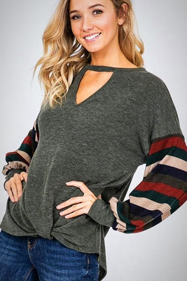 Keyhole Color Block Top with Front Knot