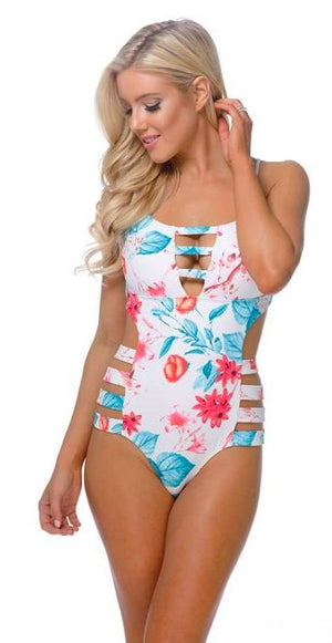 One Piece Bathing Suit with Strapping Details