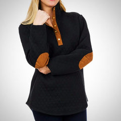 Quilted Sherpa Pullover with Elbow Patches