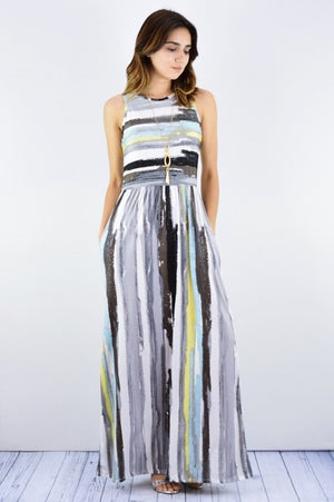 Multi Stripe Maxi Dress with Hidden Pockets