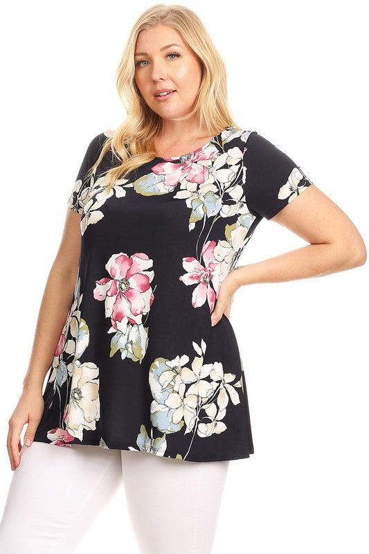 Black Floral Print Hi-Lo Hem Top (Plus)