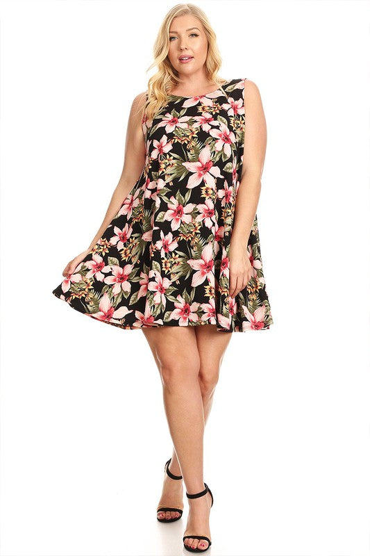 Tropical Print A-Line Tank Dress (Plus)