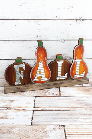 Fall Metal & Wood Gourd Tabletop Decor