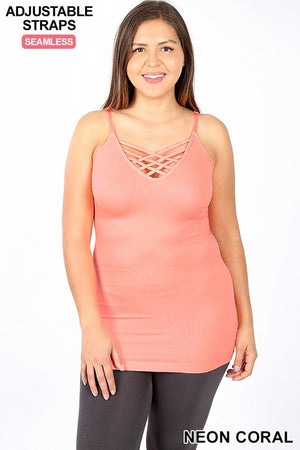 Seamless Lattice Front Cami Top (Plus)