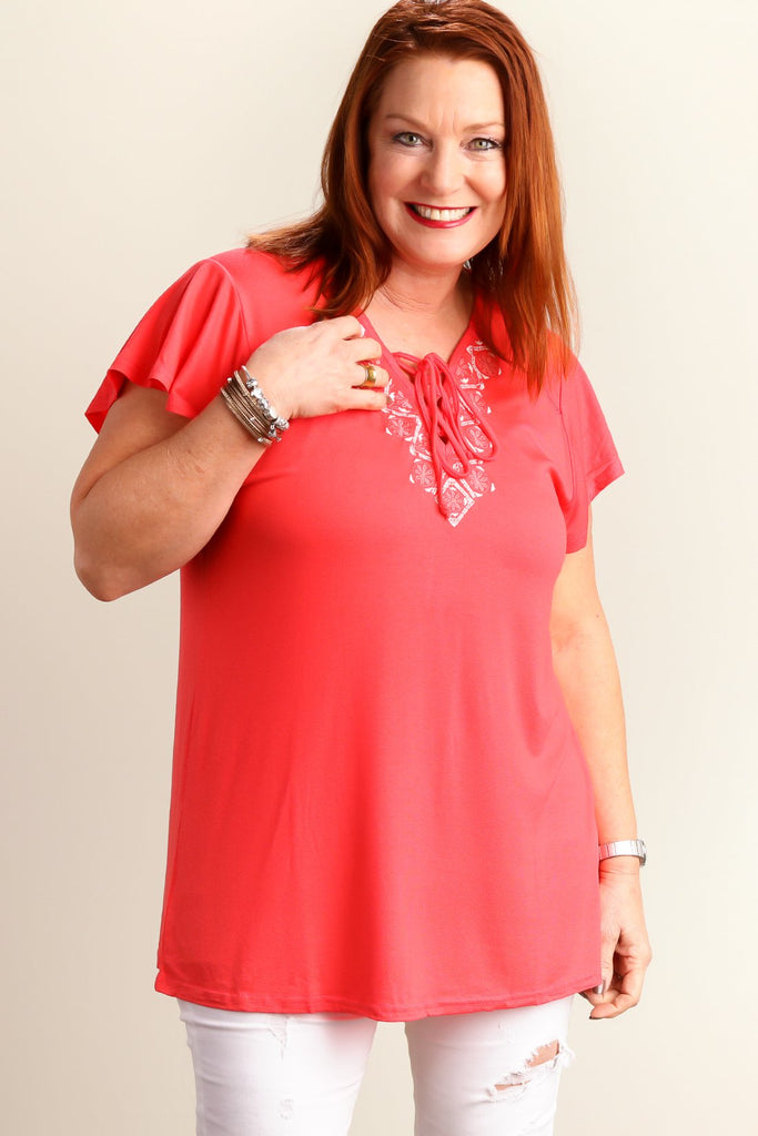 Coral Embroidered Lace Up Blouse (Plus)