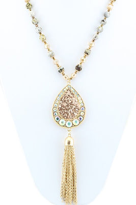 Glitter Pendent with Gold Tassel Necklace