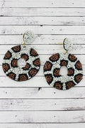 Snow Leopard Seed Bead Circle Post Earrings