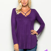 Criss-Cross Neck Tee (Plus)