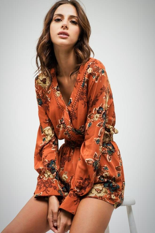 Fall Floral Romper