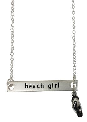 Beach Girl Pendent Necklace with Flip Flop