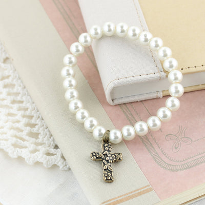 Cross Pearl Stretch Bracelet
