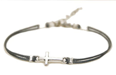 Simple Cross on Cord Bracelet