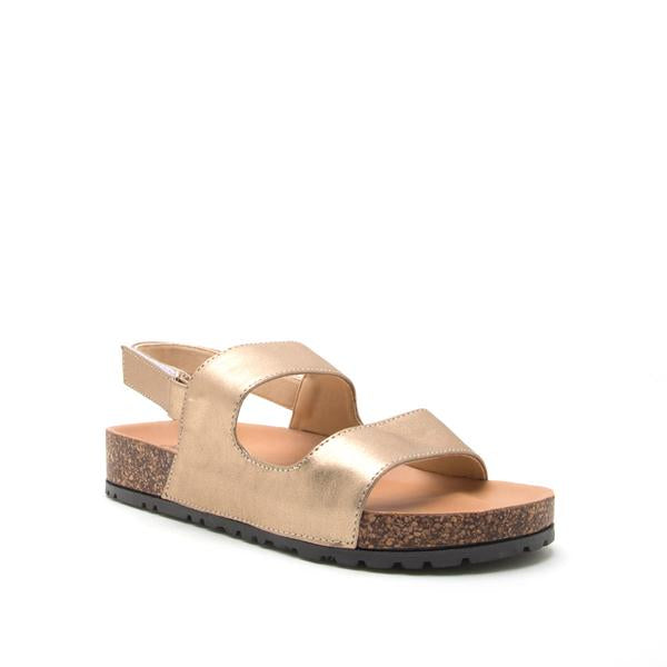 Banded Gold Distressed Slide Sandal