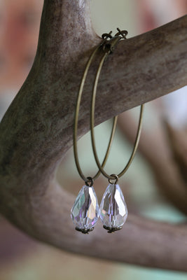 Crystal Drop Hoop Earrings