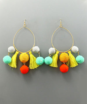 Cuban Pom Pom Hoop Earrings