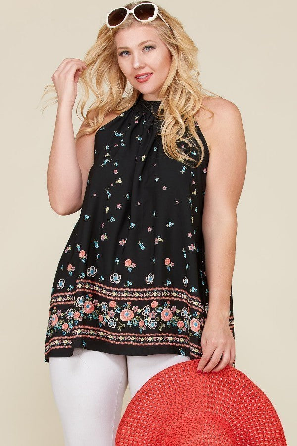 Halter Neck Floral Border Sleeveless Top (Plus)