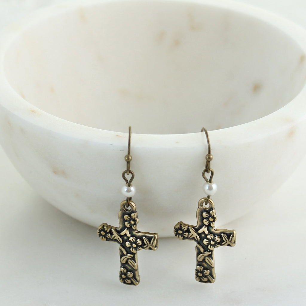 Floral Cross Earrings
