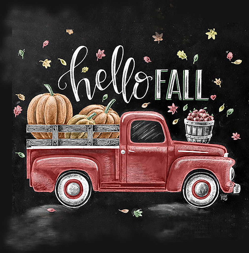 Hello Fall Truck Canvas Art