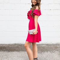 Cold Shoulder Fit And Flare Dress w/Ruffled Short Sleeves