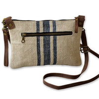 Linen & Leather Cross Body Sling Bag