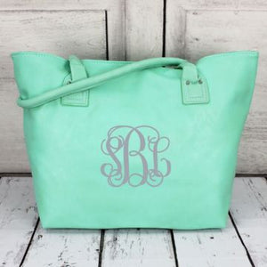 Mint Faux Leather Tote