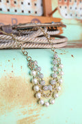 3 Tier Pearl & Chain Necklace
