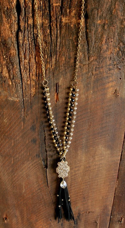 Black and Gold Beaded Chain with Leather Tassel
