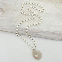 Agate & Pearl Necklace 36""