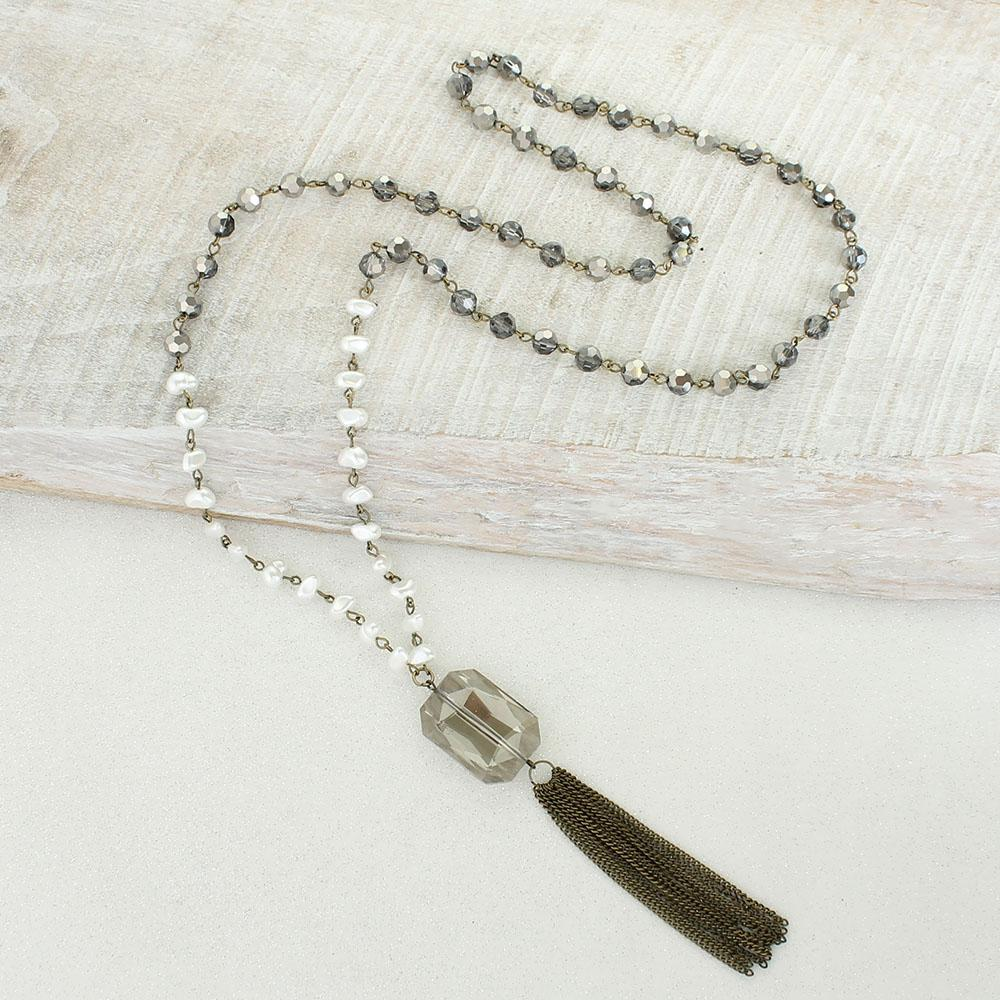 Gray Crystal & Freshwater Pearl Tassel Necklace