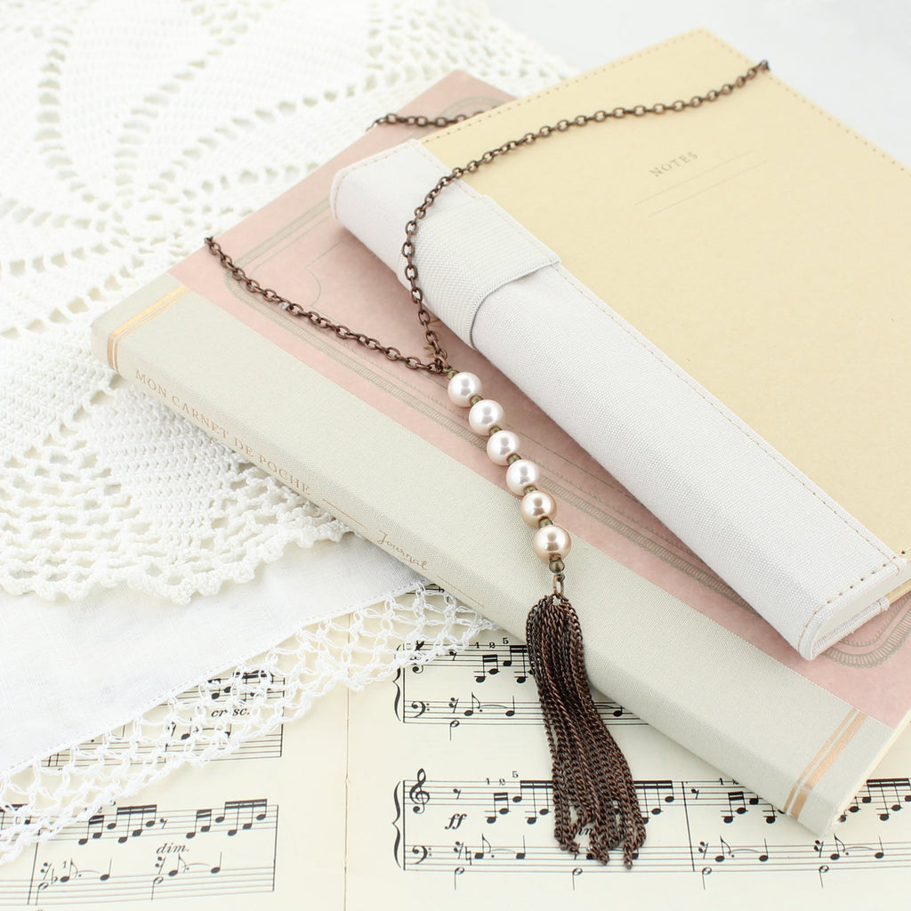 Pink Ombre Pearl Copper Necklace