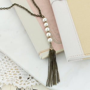 Pearl Drop Vintage Tassel Convertible Necklace