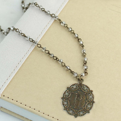 Vintage Style Saint Coin & Gray Crystal Necklace
