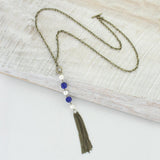 Blue Sparkle Bead Necklace with Pearls & Tassle