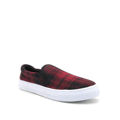Reba Red & Black Plaid Sneakers