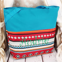 Large Tote Aztec Blue Trim